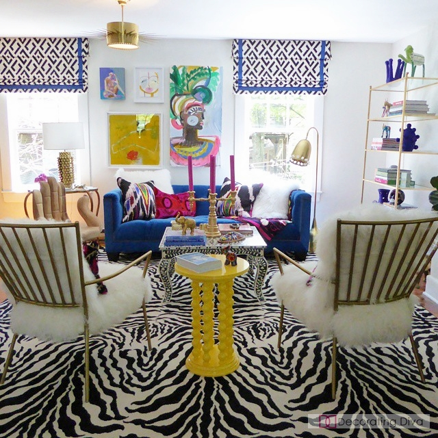Color saturated contemporary art loft with lots of glamour touches. | The Decorating Diva, LLC